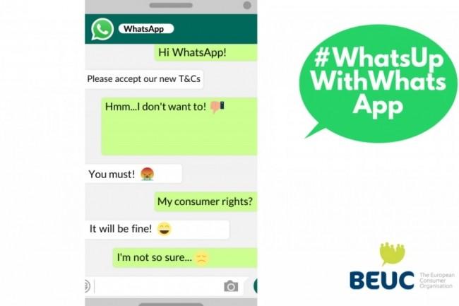 Les nouvelles règles d'utilisation de service de WhatsApp en vigueur sont entrées en vigueur le 19 mai 2021. (crédit : BEUC)
