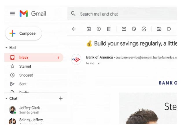 Google devrait int�grer � Gmail le syst�me d'identification BIMI comprenant un logo de l'entreprise � la place de l'avatar fourni par Google. (Cr�dit Photo: Google)