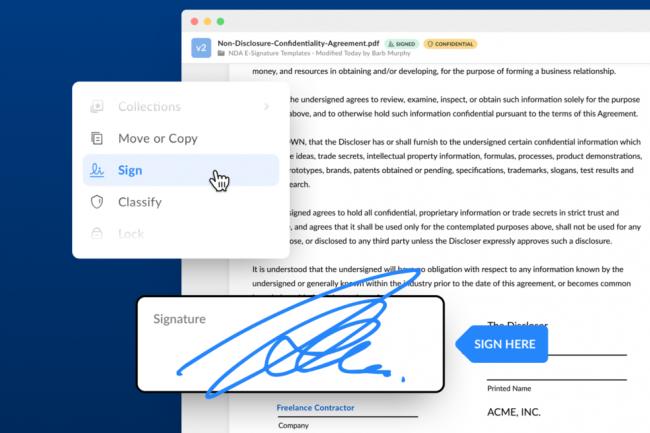 Issu du rachat SignRequest, le service Box Sign est nativement int�gr� dans la plateforme de sauvegarde et de collaboration. (Cr�dit Photo: Box)