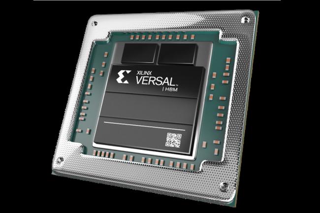 La version HBM de la puce Versal est �quip�e d'une m�moire DRAM HBM2e directement ancr�e sur le die du processeur. (Cr�dit Xinlix)