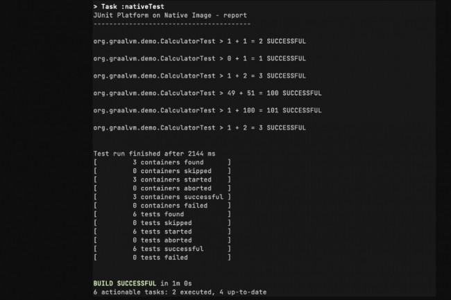 Exemple de sortie de t�che Gradle lors de l'ex�cution de tests JUnit en mode image natif. (cr�dit : GraalVM.org)