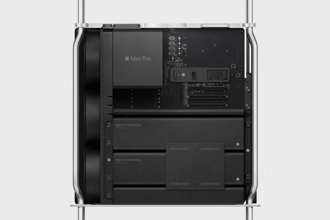 Les trois cartes graphiques Radeon Pro W6800X, W6800X Duo et W6900X sont propos�es lors du choix de configuration du Mac Pro. (cr�dit : Apple)