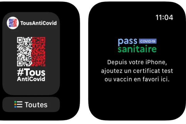 Chacun peut d�sormais pr�senter son QR Code sur un t�l�phone ou une montre Apple Watch sans aller dans l'application TousAntiCovid. (Cr�dit : App Store)