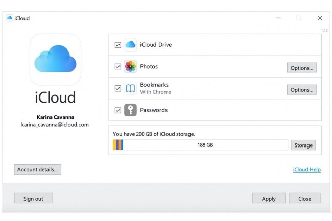 Le fonctionnement d'iCloud pour Windows est assez explicite d�s que l�on est connect� � son compte iCloud. (Cr�dit : Apple)