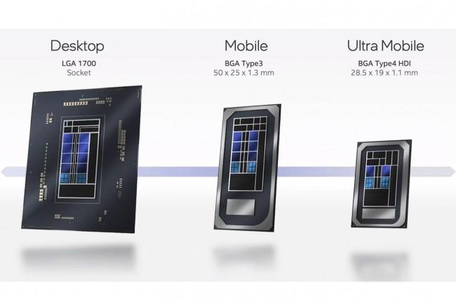 Les puces Alder Lake d'Intel seront fabriqu�es en trois versions, la 1�re pour les ordinateurs de bureau, la 2�me pour les notebooks et le 3�me pour les ultra notebooks. (Cr�dit : Intel)