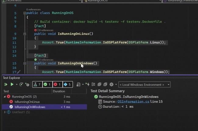 Dans la pr�version 3, de nouvelles capacit�s sont offertes pour ex�cuter des tests dans des environnements Linux. (Cr�dit : Microsoft)