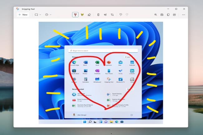 Parmi les applications int�gr�es � Windows 11, Snipping Tool b�n�ficie d'une modernisation importante. (Cr�dit Photo: Microsoft)
