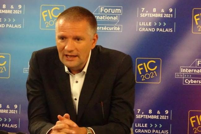 Au FIC 2021, Guillaume Poupard, directeur g�n�ral de l'Anssi a �voqu� les axes de discussion sur la cybers�curit� lors de la pr�sidence fran�aise de l'UE en janvier prochain. (Cr�dit Photo: JC)