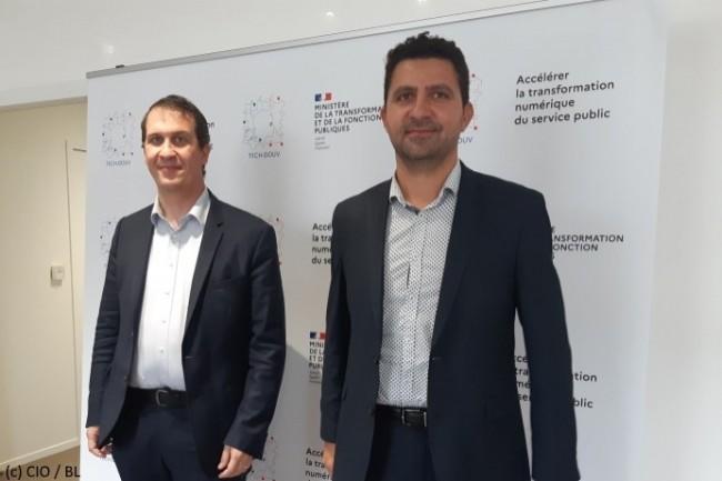 De droite � gauche : Nadi Bou Hanna, directeur de la Direction Interminist�rielle du Num�rique (Dinum), et Xavier Albouy, directeur adjoint et directeur du programme Tech.gouv.