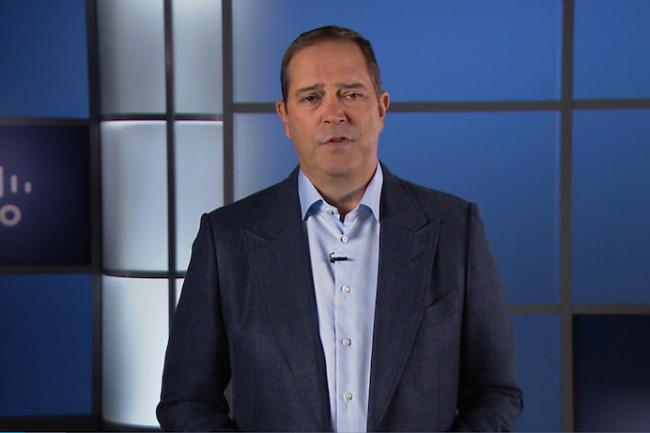 Le CEO de Cisco Chuck Robbins se montre tr�s confiant pour les ann�es � venir. (Cr�dit Cisco)
