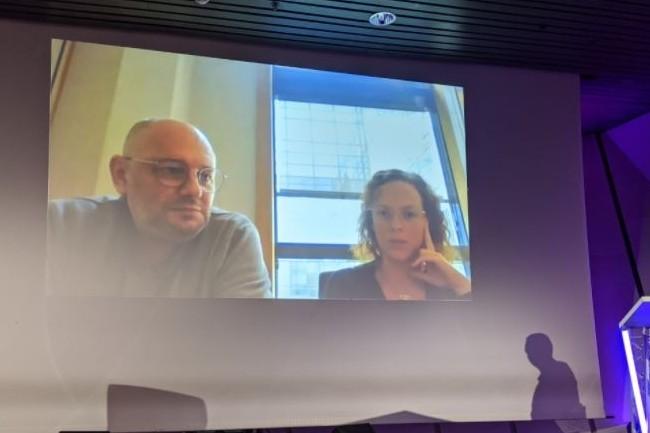Jean-Marc Sangnier responsable data de Promod et Florence Vandaele, responsable contr�le de gestion op�rationnel chez Promod sont intervenus pour un cas d'usage sur le salon Big Data Paris 2021. (cr�dit : D.F.)