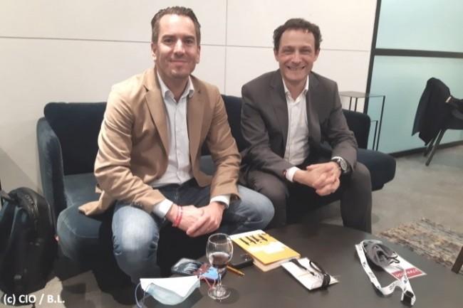 Gianmaria Perancin, pr�sident de l�USF (� droite), et Fr�d�ric Chauvir�, directeur g�n�ral de SAP France (� gauche), ont �chang� ensemble avec la presse le 7 octobre 2021.
