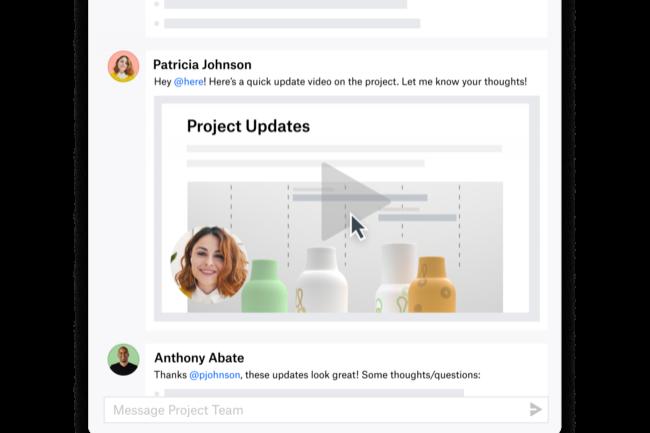 L'outil Capture de Dropbox permet notamment de communiquer sur l'avancement d'un projet gr�ce � des courtes vid�os enregistr�es et partag�es. (Cr�dit : Dropbox)