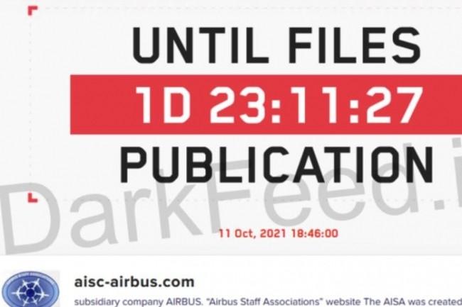 Le cybergang derri�re Lockbit a d�clench� un compte � rebours mena�ant Airbus AISA de publier des donn�es hack�es. (cr�dit : D.R.)