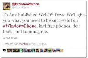 Microsoft offre des smartphones pour attirer les d�veloppeurs webOS