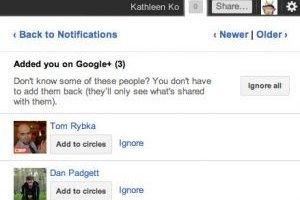 Google+  ajoute une fonction « Ignorer »