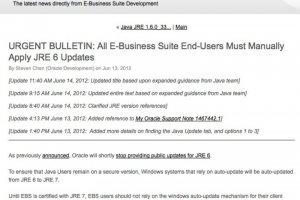 E-Business Suite : Oracle demande de désactiver la mise à jour automatique de Java 7