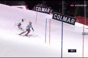 Le skieur Marcel Hirscher fr�le l'accident de drone