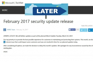 Microsoft diff�re au 14 mars sa mise � jour de s�curit� mensuelle