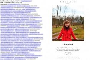 Les adresses e-mails de 365 clients de Tara Jarmon visibles dans un courriel promotionnel