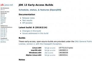 Les premières builds JDK 13 disponibles