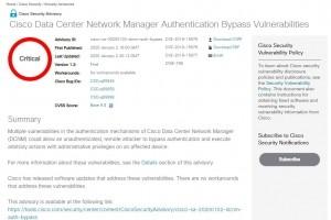 Cisco alerte sur des failles touchant Data Center Network Manager