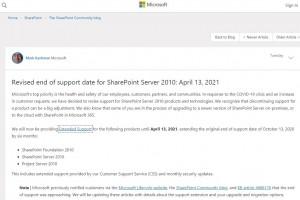 Microsoft prolonge le support de SharePoint Server 2010 et Windows 10 1809
