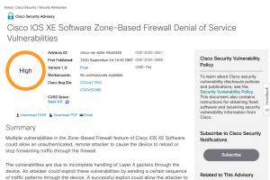 Cascade de mises � jour s�curit� pour Cisco IOS et IOS XE