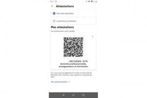 L'attestation de déplacement disponible sur l'app TousAntiCovid