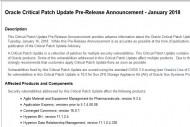 Oracle corrige 233 failles sur ses produits et surement Meltdown/Spectre