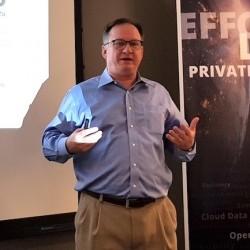 Hugo Patterson, CTO et cofondateur de Datrium, met l'accent sur la s�curit� avec le chiffrement de bout en bout des donn�es. (cr�dit : LMI)