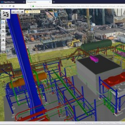 La reconstitution d'un site industriel via PlantSight, une solution de Digital Twin.