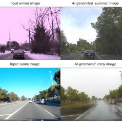 L'équipe de recherche de Nvidia a démontré la capacité d'un réseau antagoniste génératif à prendre une scène d'image d'hiver et à la générer en été.