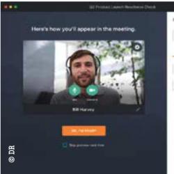 GoToMeeting vous montre dans un aperçu à quoi vous ressemblerez pendant l'appel.
